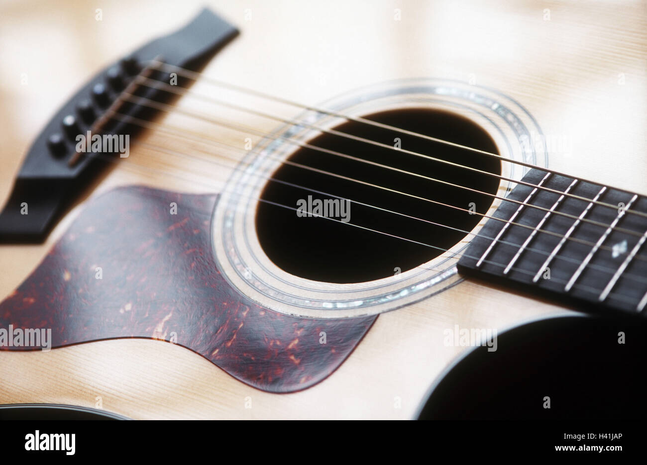 Guitar, detail, stringed instrument, plucked instrument, musical instrument, acoustic guitar, instrument, sound - Stock Image