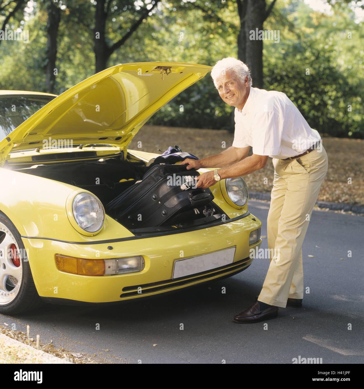 Man, middle old person, Porsche, front clapper board, luggage invite ...