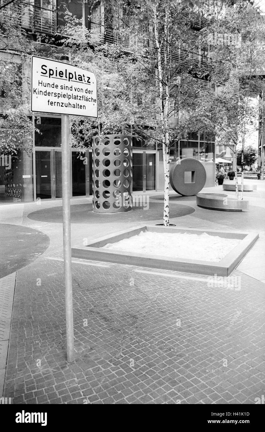 Germany, Berlin, Potsdam space, residential complex, playground, sign, dog ban, b/w, Europe, town, capital, residential - Stock Image