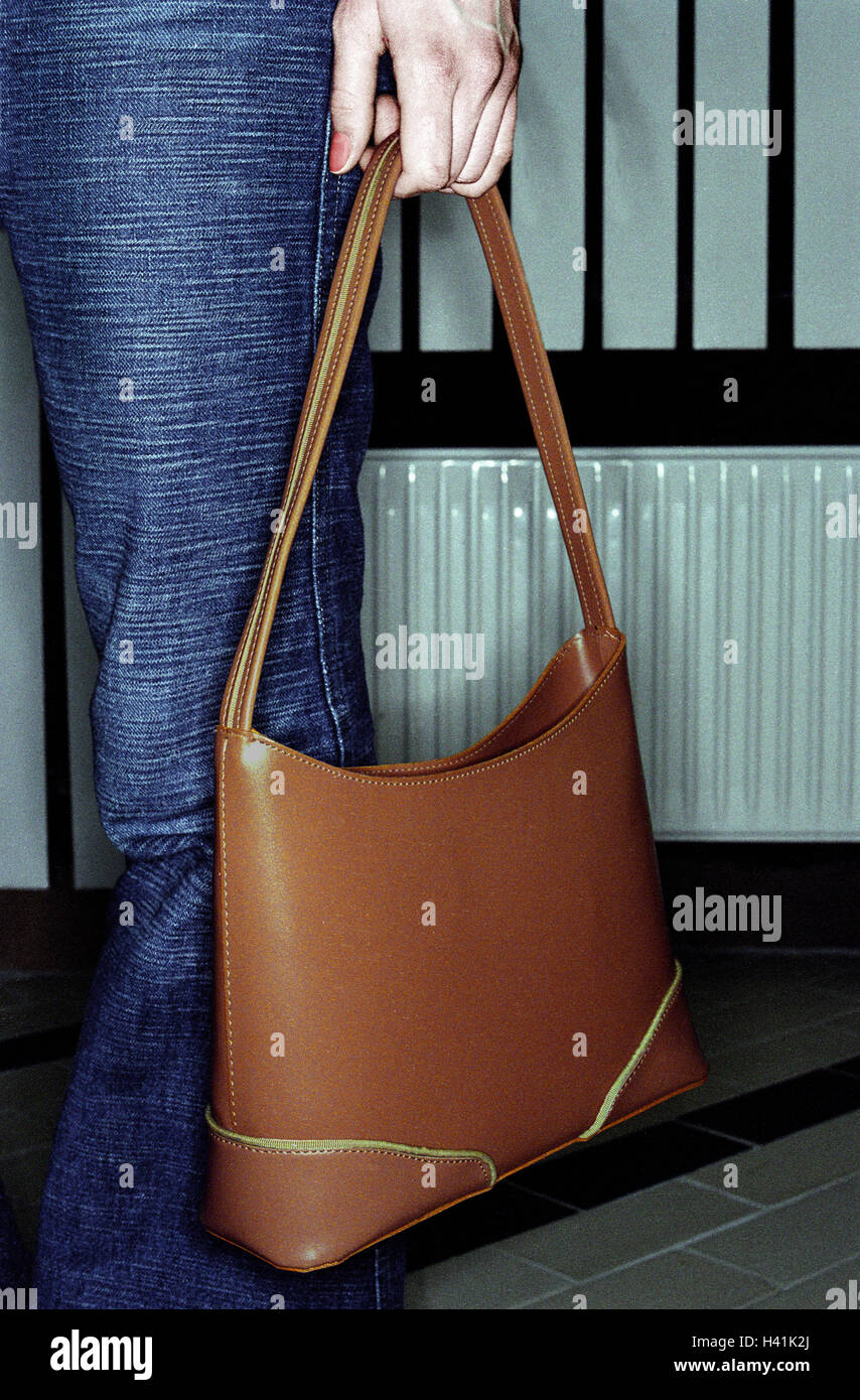 Woman, stand, handbag, detail, trousers, pouch, leather ball pouch, brown, fashion, accessories, hold, wait, inside, - Stock Image