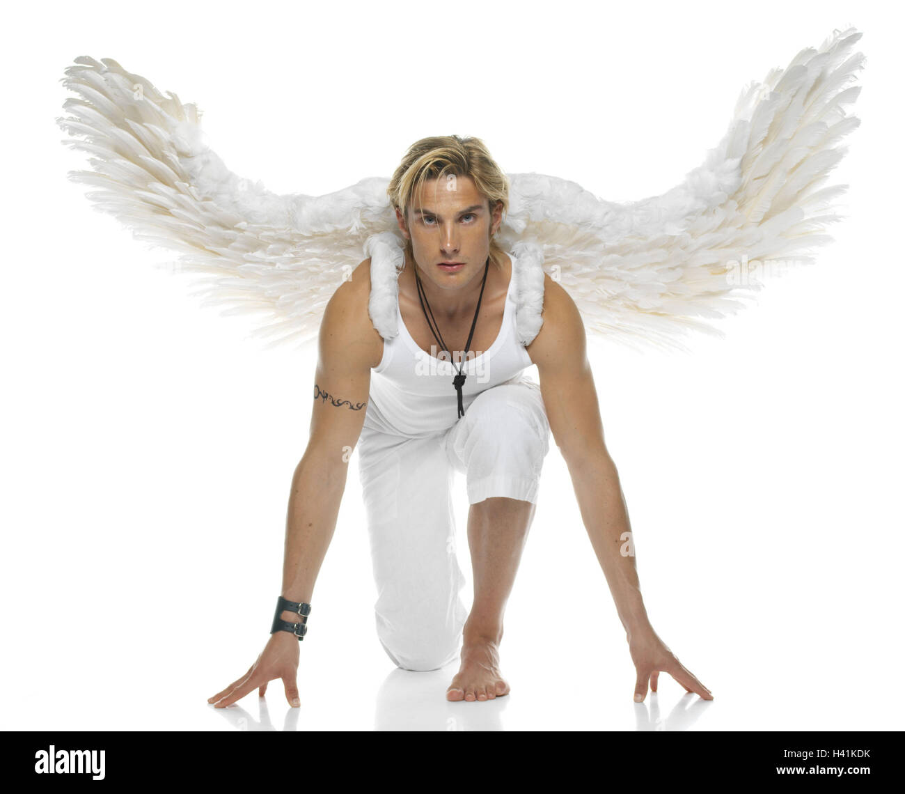 Man Young Blond Angel S Wings Squat 20 30 Years View Camera