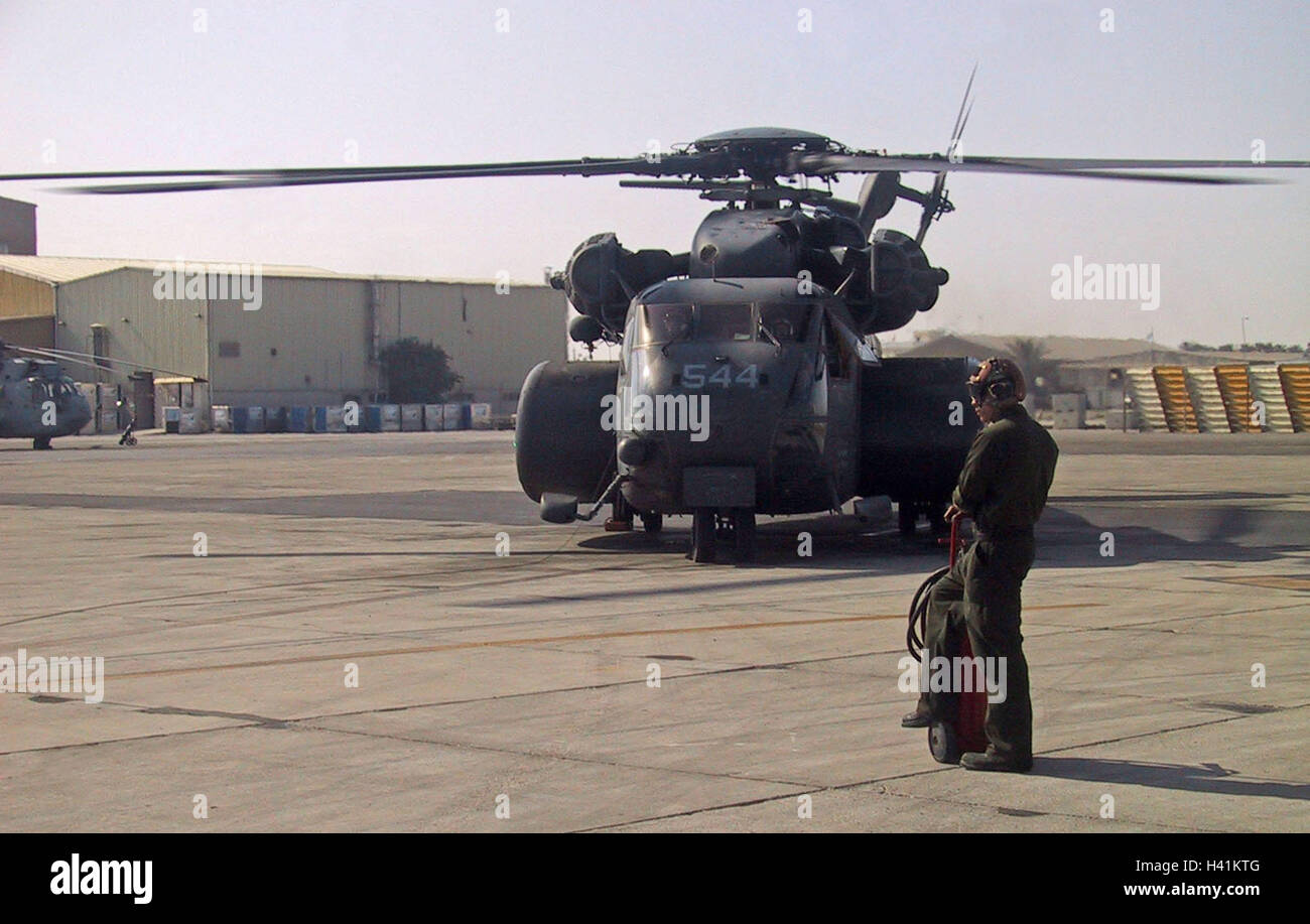27th January 2003 Operation Enduring Freedom: an MH-53 Sea Stallion from the USS Nassau at Bahrain International - Stock Image