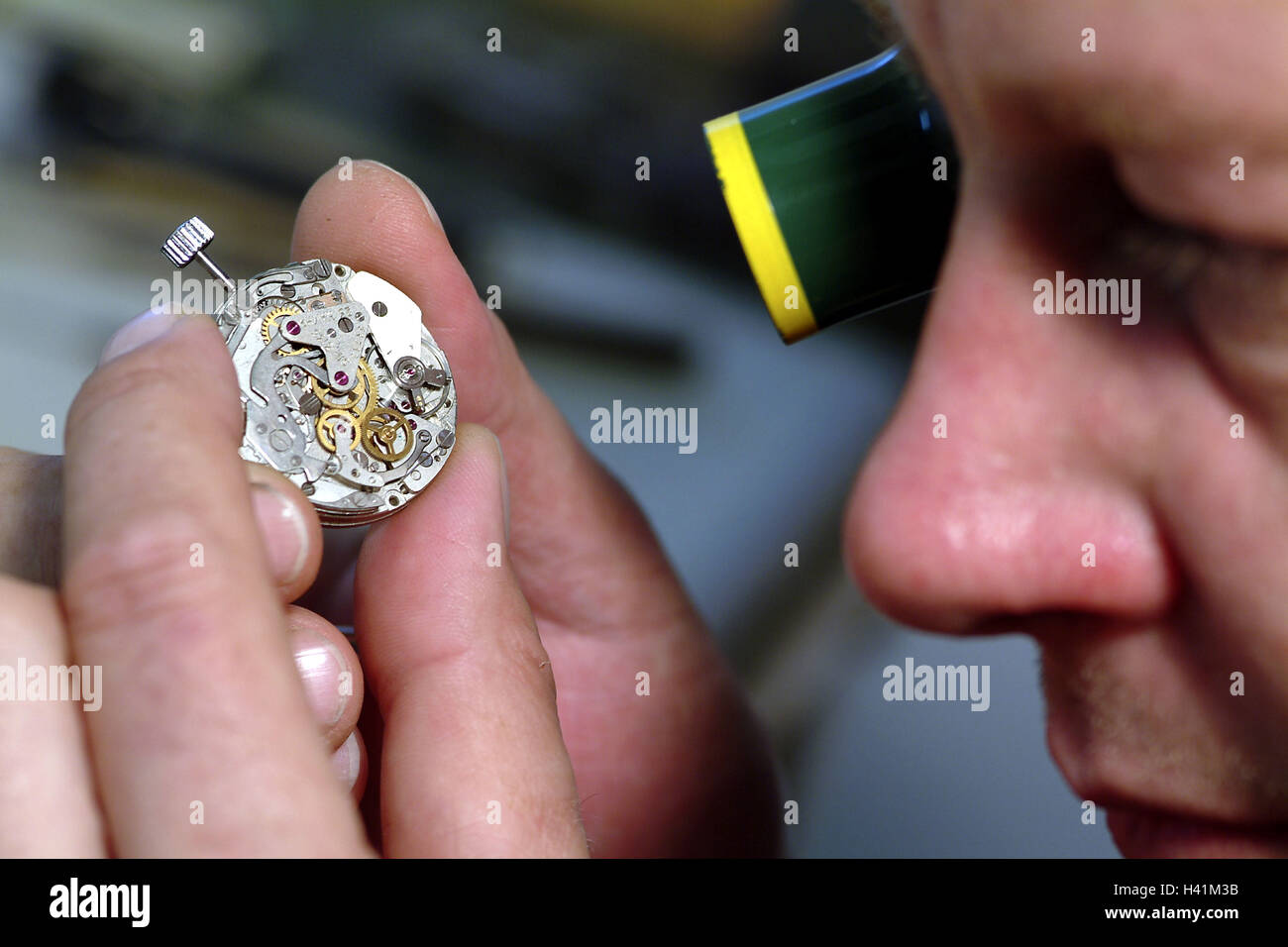 Watchmakers, view loupe, clockwork, tread, curled, man, 40-50 years, occupation, craft, craft occupation, skill, - Stock Image