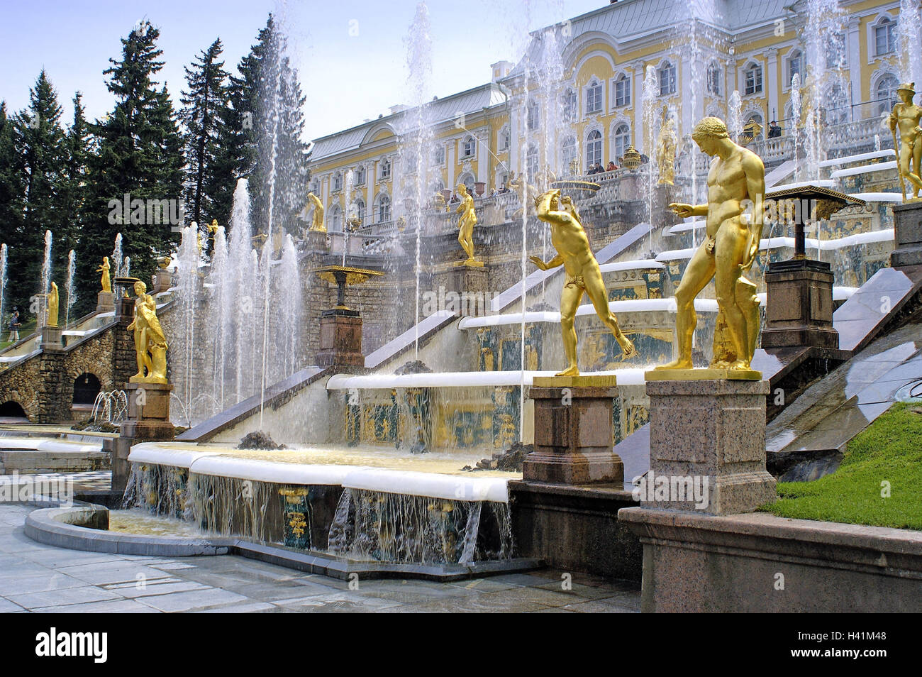 Russia, St. Petersburg, Peter's court, palace, fountain, 'big cascade', Saint Petersburg, Sankt-Peterburg, - Stock Image