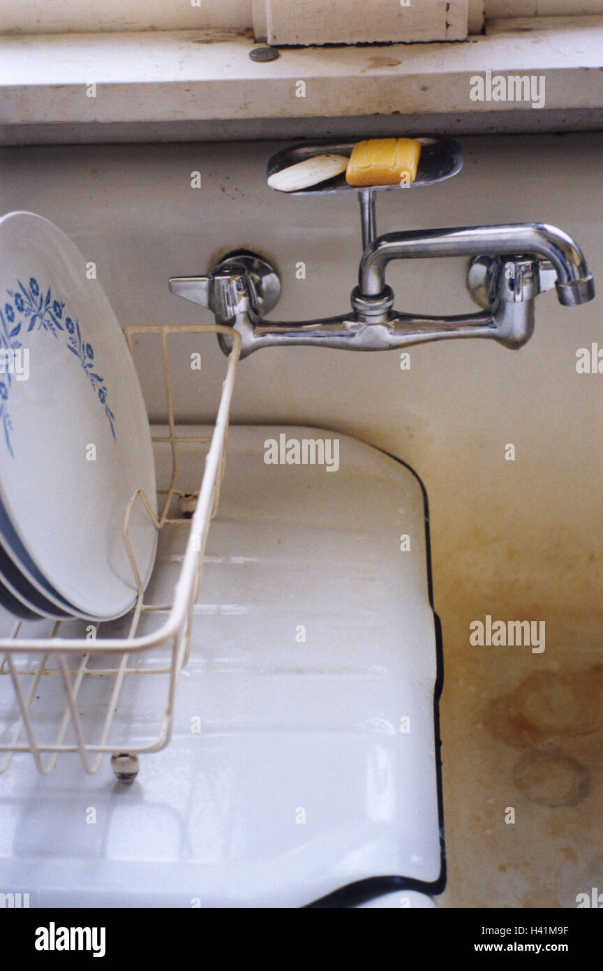 Sinks, old, draining basket, plate, cuisine, sink, sink, armatures ...