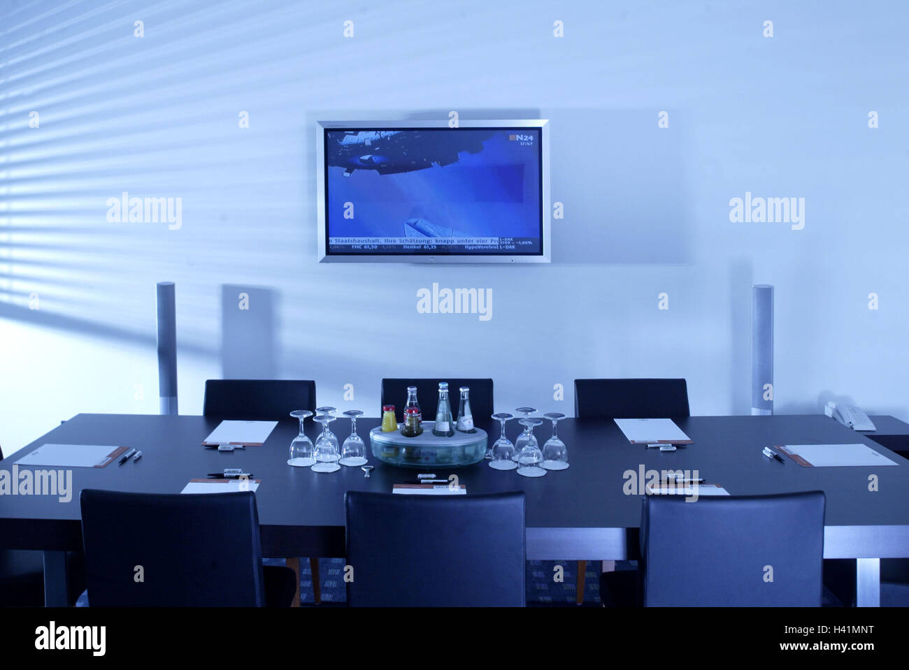 Meeting Room Conference Table Chairs Bases Glasses Drinks Wall - Multimedia conference table