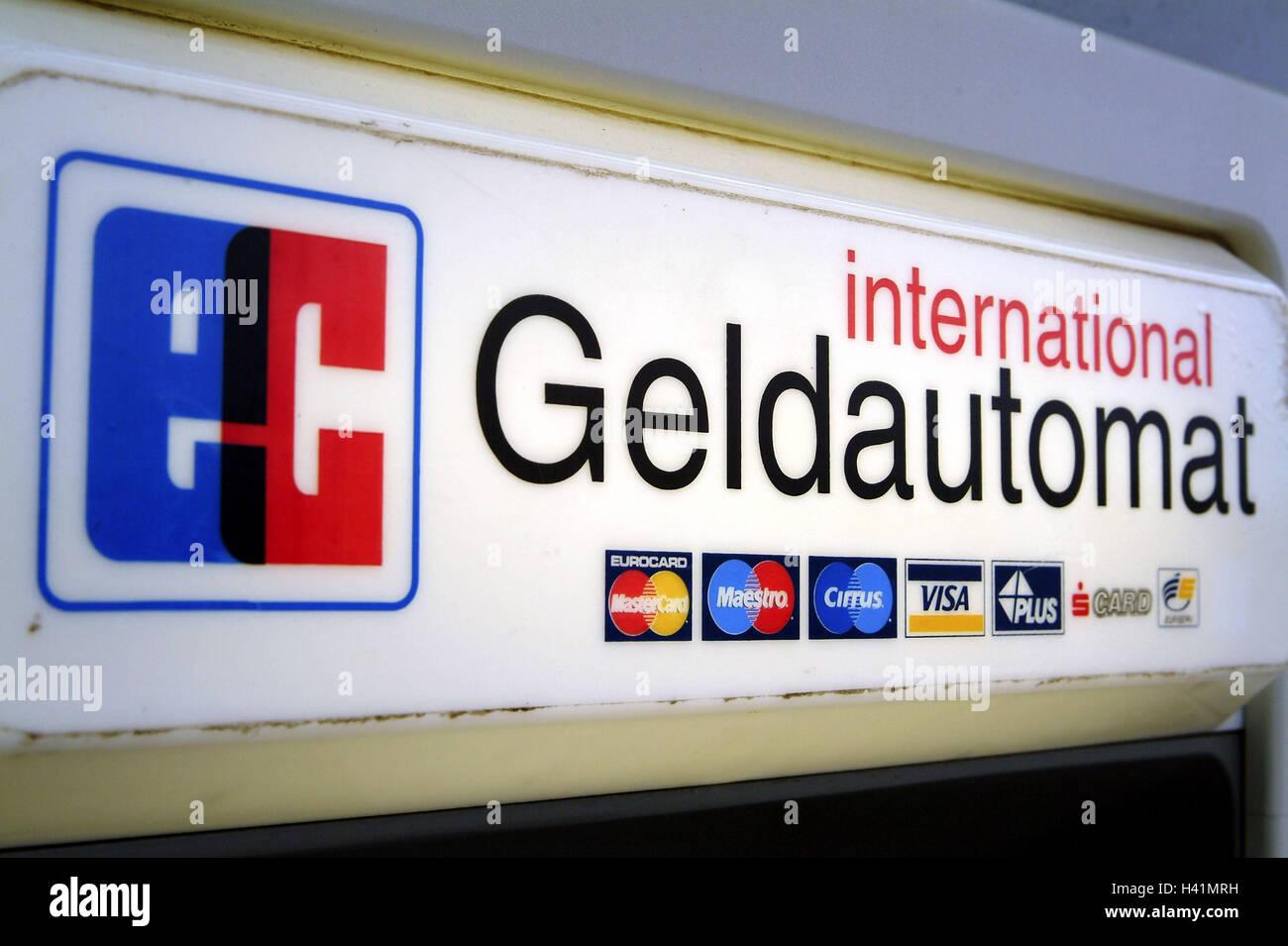 Sign, automatic teller, international   Hint, EC, bank, money, finances, EC-Automat, bank vending machine, vending - Stock Image