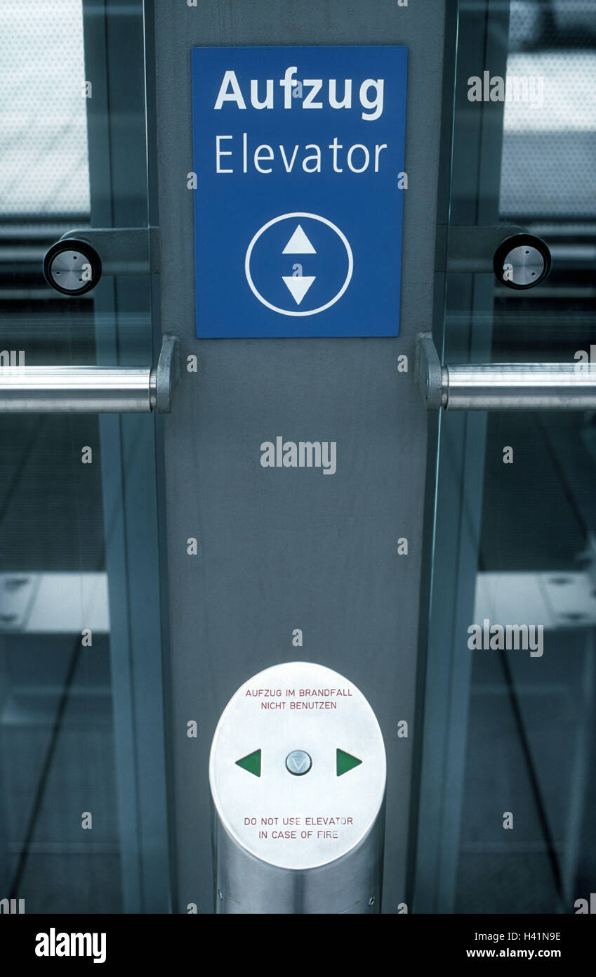 Lifts, detail, sign, request key, lift, lift, lift, upward, down, on the left, on the right, two, possibility, transport, - Stock Image