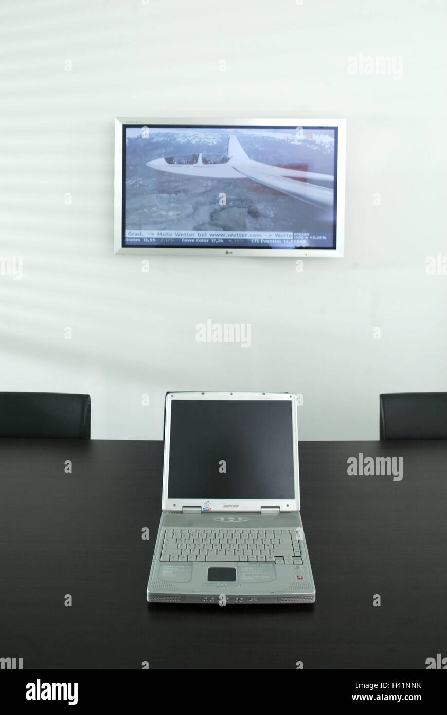 Meeting Room Conference Table Laptop Wall Flat Screen Tv Stock
