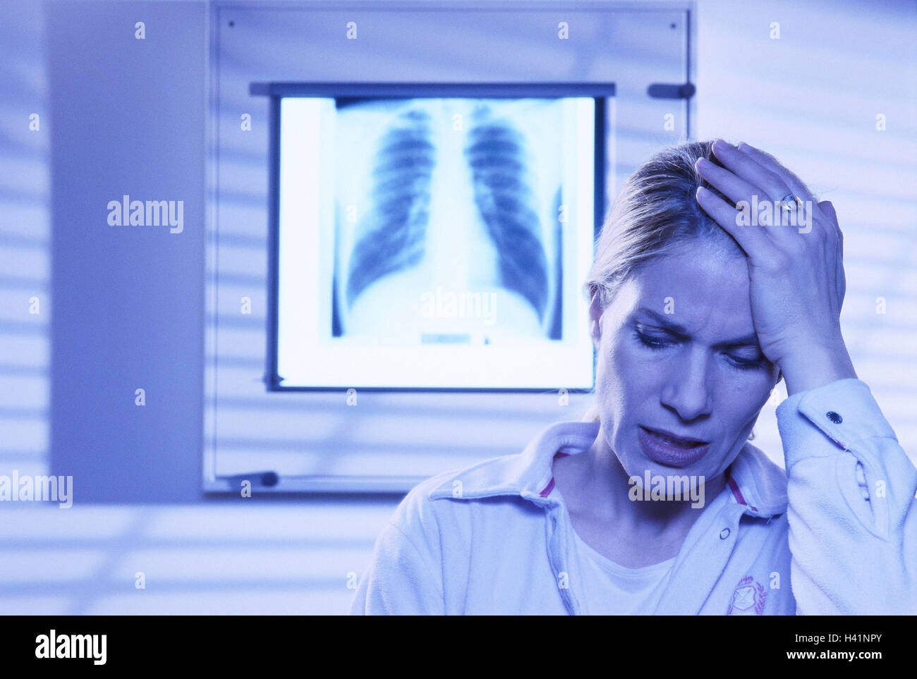 Medical practise, roentgenogram, patient, gesture, desperation, portrait, practise, roentgenology, X-ray picture, - Stock Image