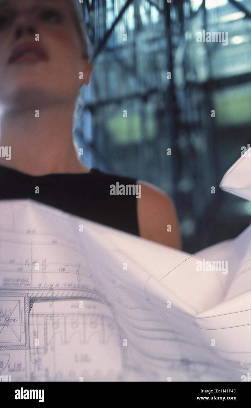 Architect, architect's plan, detail, woman, businesswoman, young, occupation, construction subscriber, business, - Stock Image