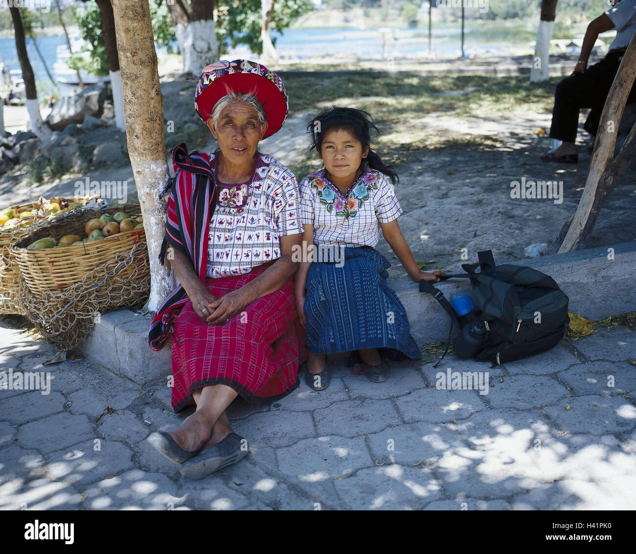 Guatemala, Atitlansee, Santiago, Atitlan, senior, girl, folklore clothes, no model release Latin America, highland - Stock Image