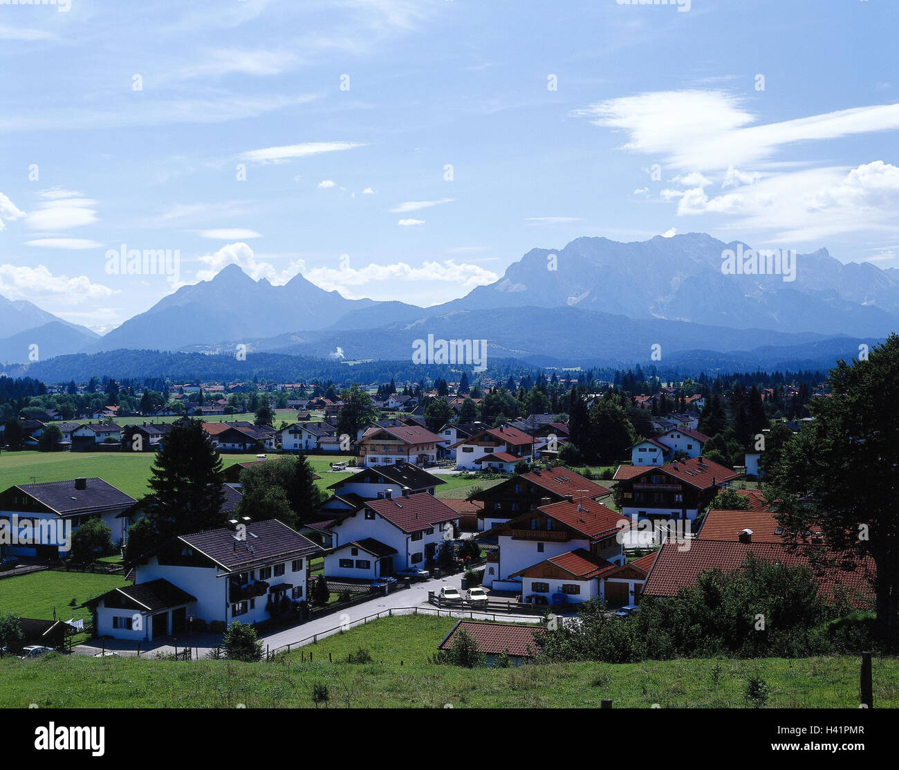 Germany, Werdenfels, embankment region, local overview, Europe, Bavaria, Upper Bavaria, place, houses, residential - Stock Image