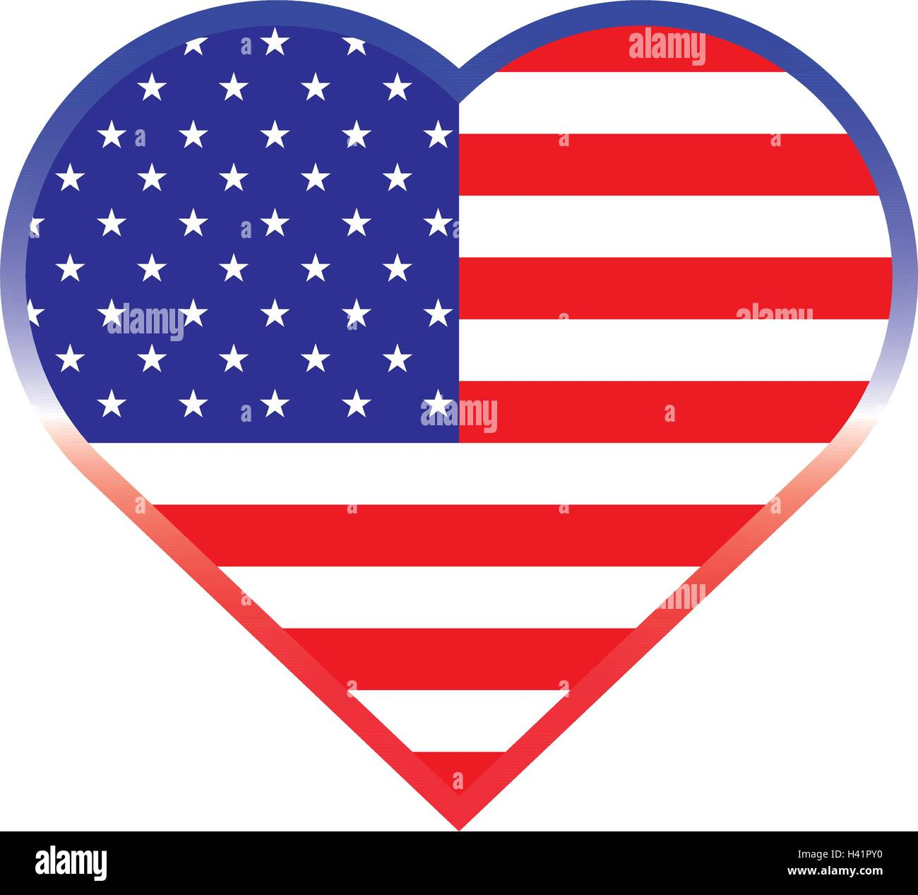 Isolated heart shaped button with the american flag, Vector Stock