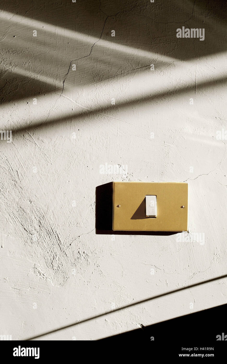 Wall, light switch defensive wall, toggle, wall switch, switch, conception, electricity, current, energy, light, - Stock Image