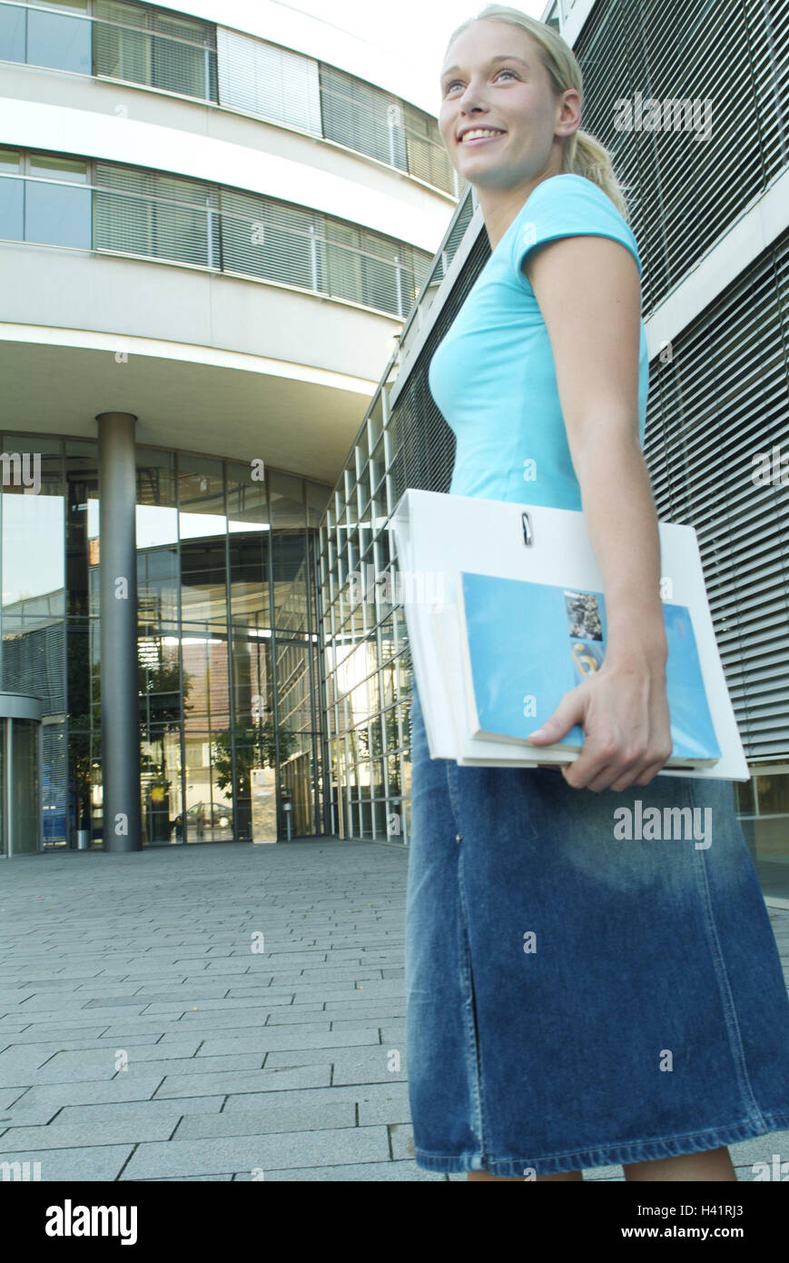 Woman, young, bases, background, office building, 23 years, occupation, professional life, education, student, university, - Stock Image