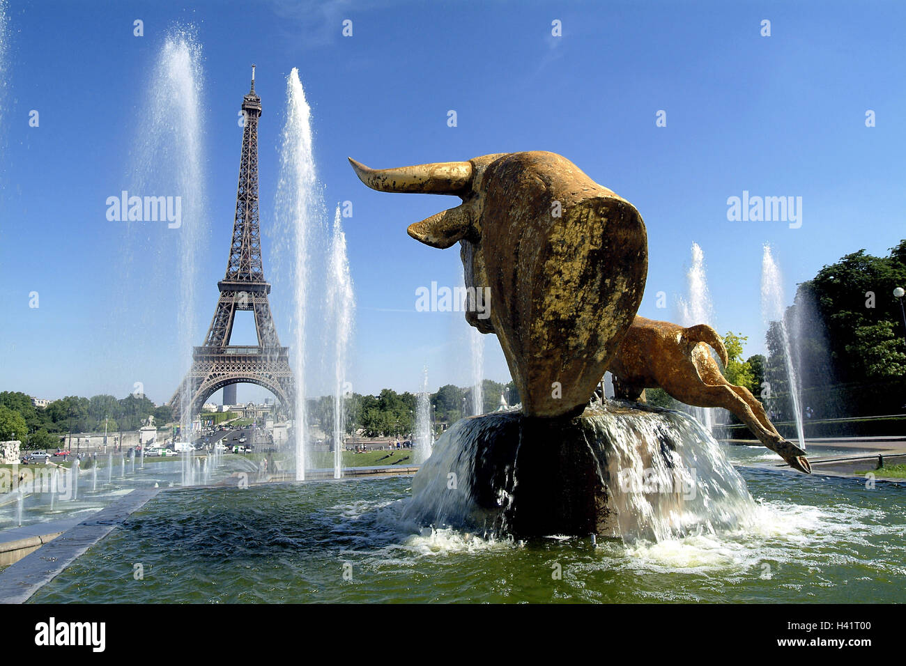 France, Paris, Trocadero, Eiffel Tower, fountain, well characters, Europe, town, capital, construction, architecture, Stock Photo