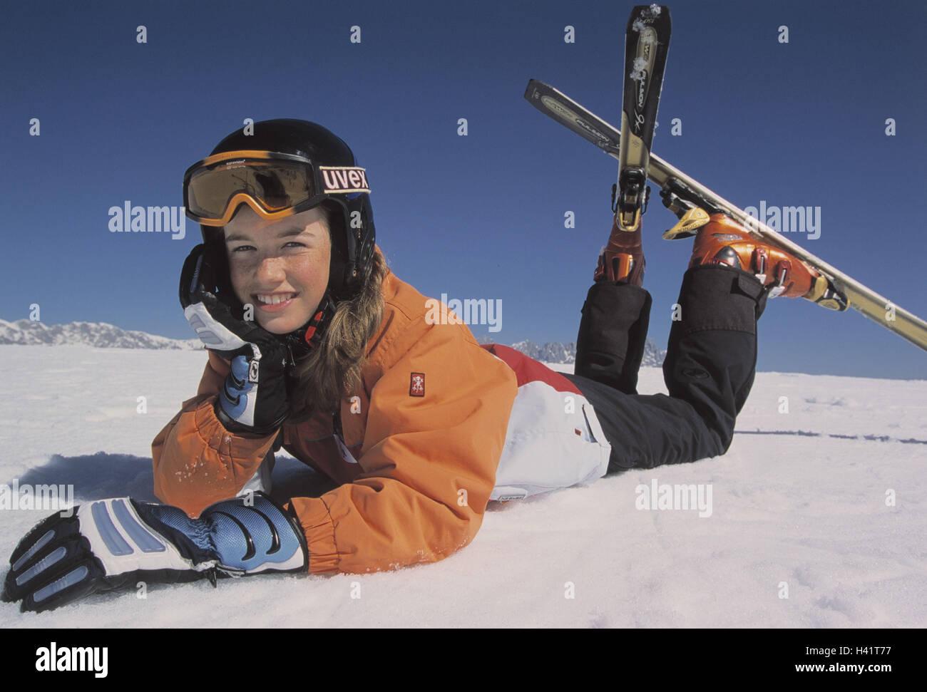Girls, ski equipment, happy, lie, add support snow, leisure