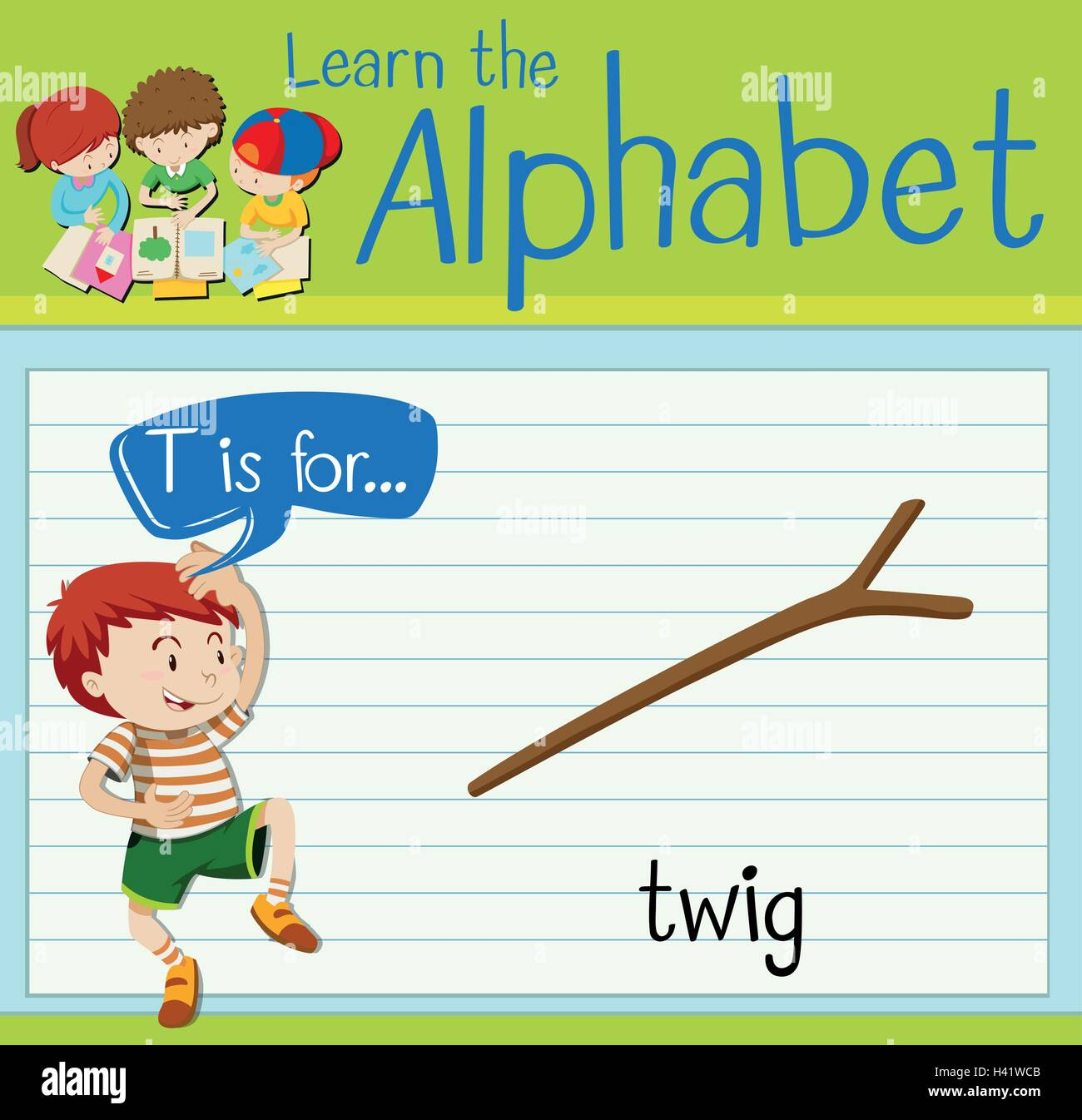 Flashcard letter T is for twig illustration - Stock Vector