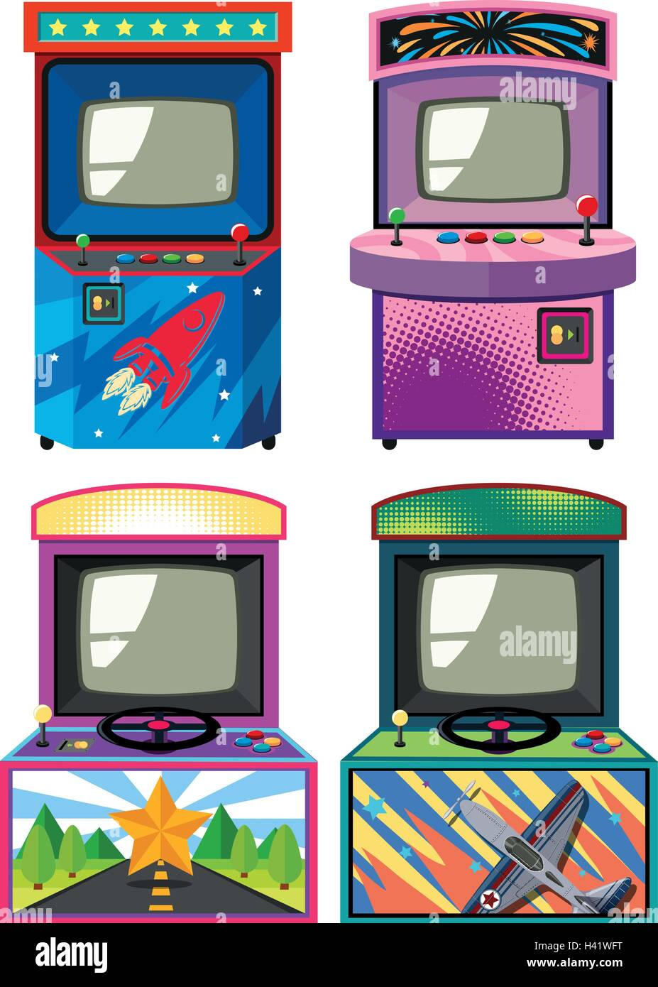 Four design of arcade gameboxes illustration - Stock Vector