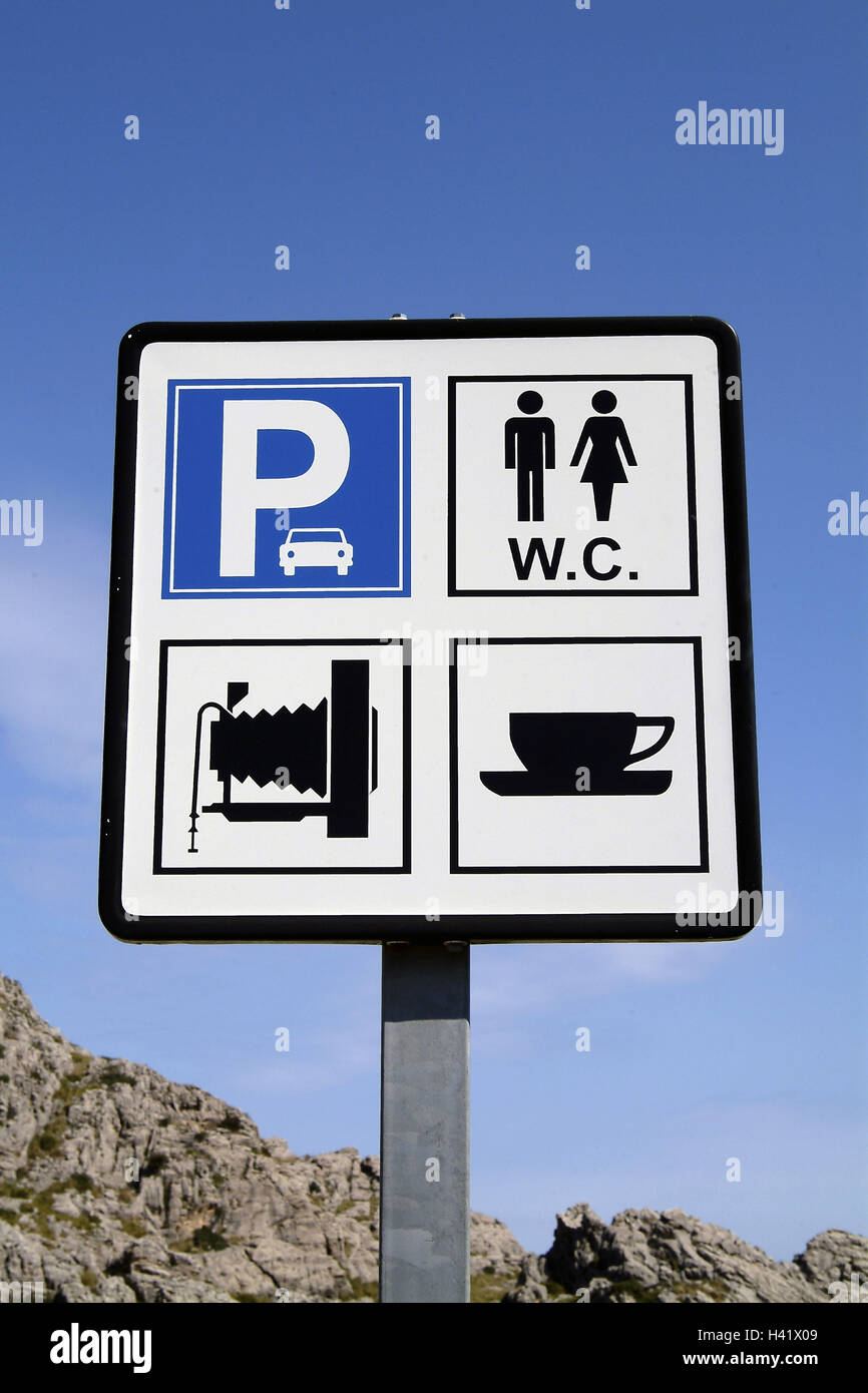 Sign, parking lot, WC, coffee, lookout, tip, sign, touristically, information, tourist information, parking facility, - Stock Image