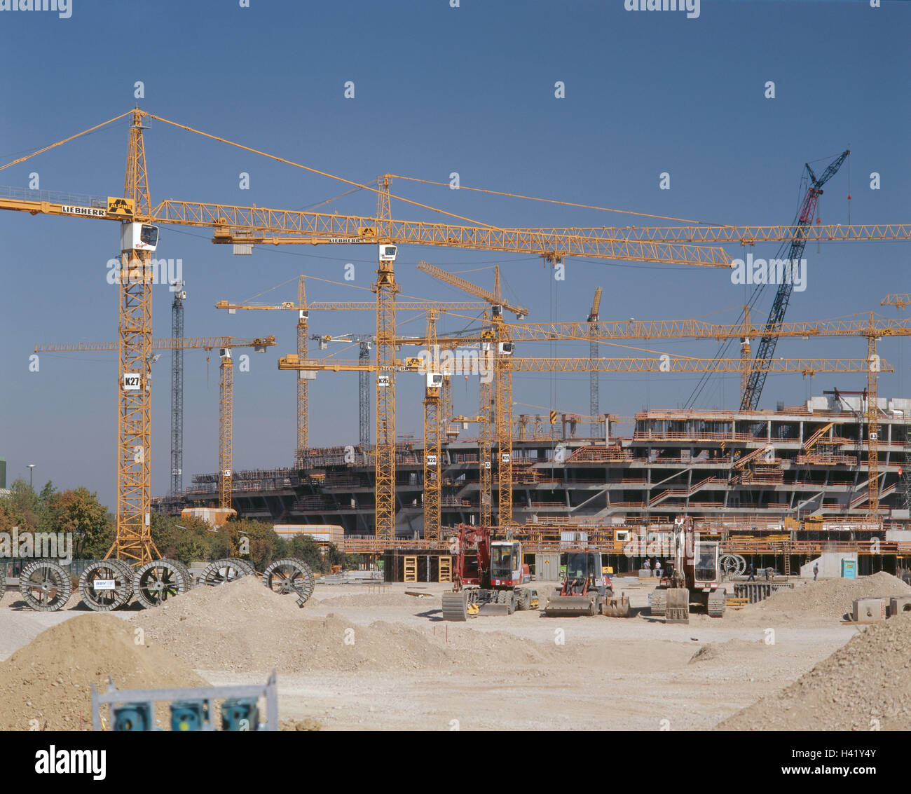 Germany, Bavaria, Munich, Fröttmaning, alliance arena, construction site, no property release, Europe, Upper - Stock Image