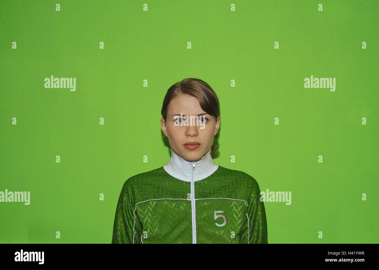 Woman, young, seriously, portrait, women's portrait, 20-30 years, jacket, tracksuit top, sportily, collars, - Stock Image
