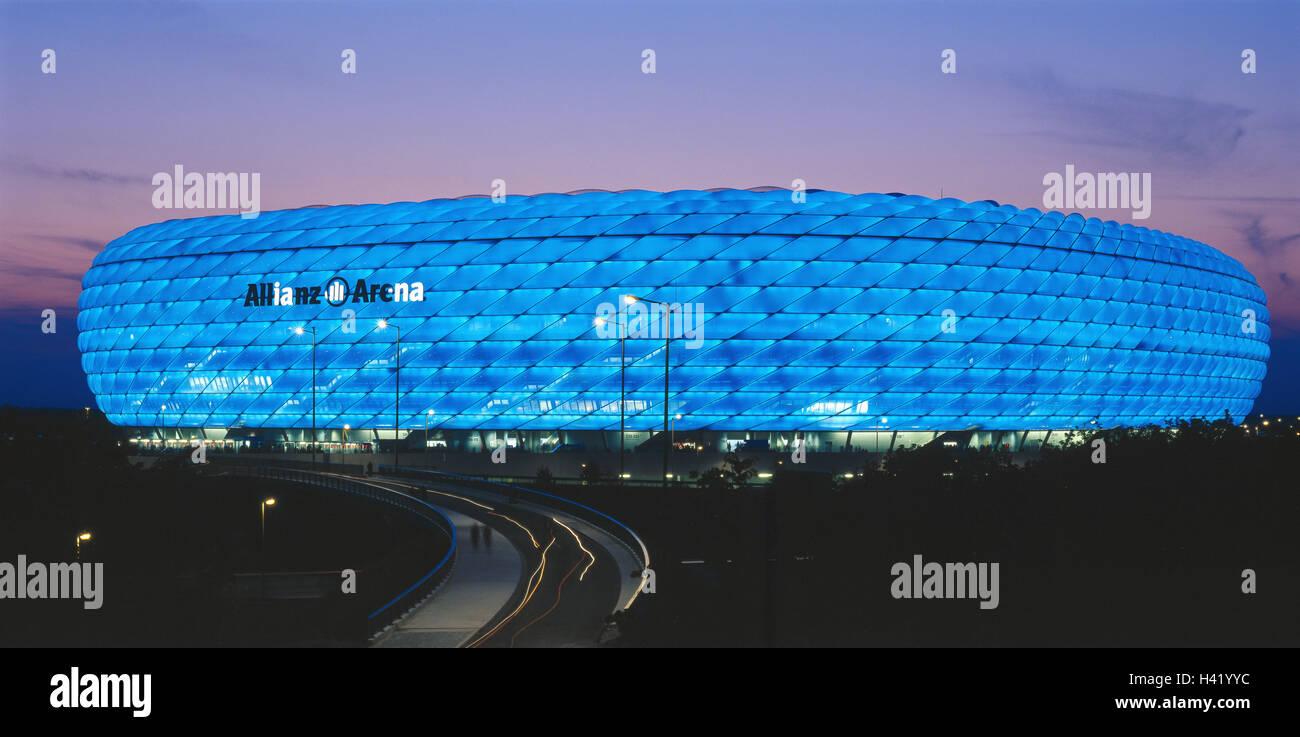 Germany, Upper Bavaria,  München-Fröttmaning, Fußballstadion, Alliance arena, blue, illuminated, - Stock Image