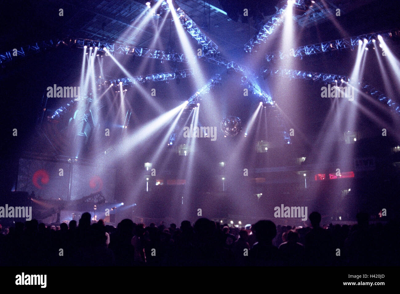 Disco, light show, crowd people, silhouette, disco, nightclub, night club, dance floor, dance floor, dance, go out, - Stock Image