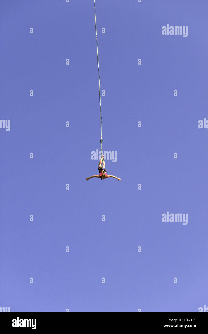 Bungeejumping, man, person, arms spread, jump, fall, heavens, blue, cloudless, height, air, rope, hang, headlong, Stock Photo