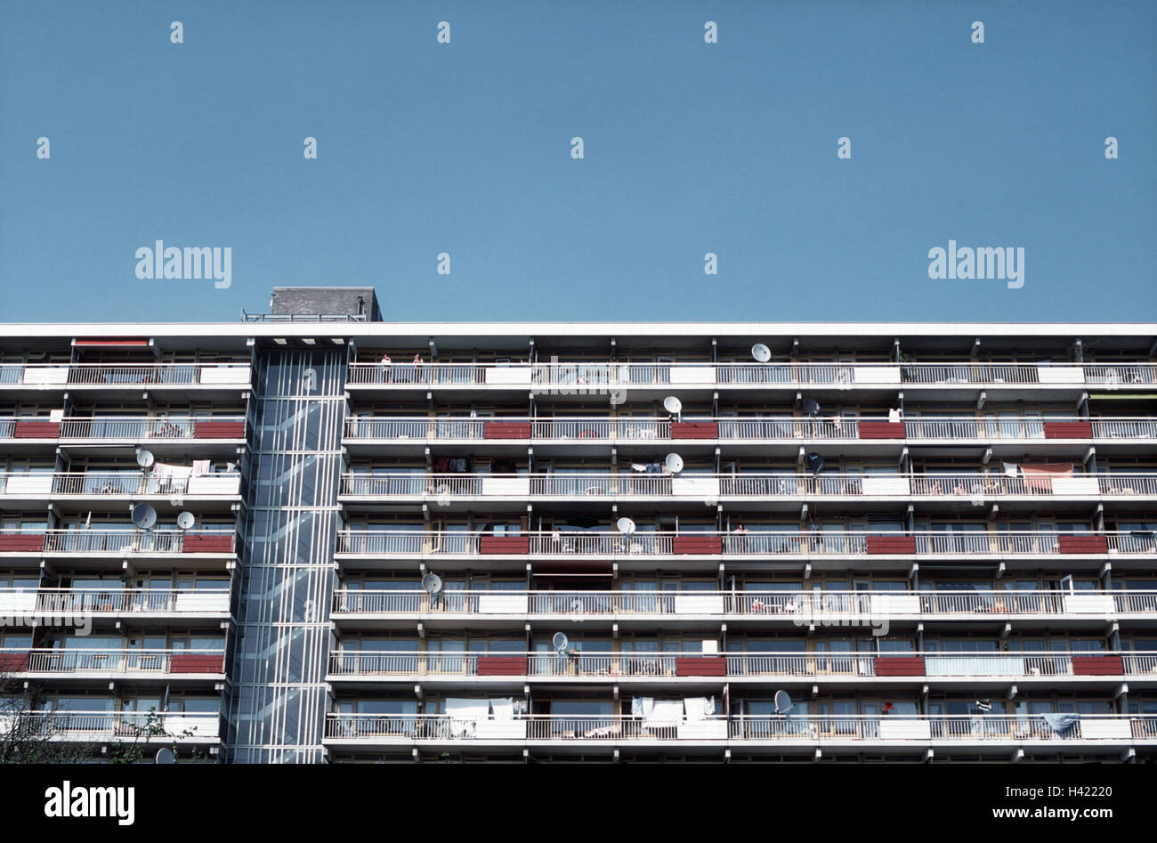 High rise, detail, facade, the Netherlands, home Arn, town, part town, apartment block, floors, floors, windows, - Stock Image