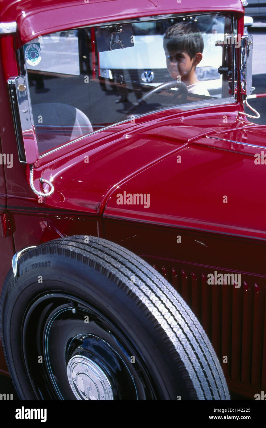 Car, old-timer, Fiat Palilla, year manufacture in 1935-1940, detail, car, passenger car, red, autotypes, windscreen, - Stock Image