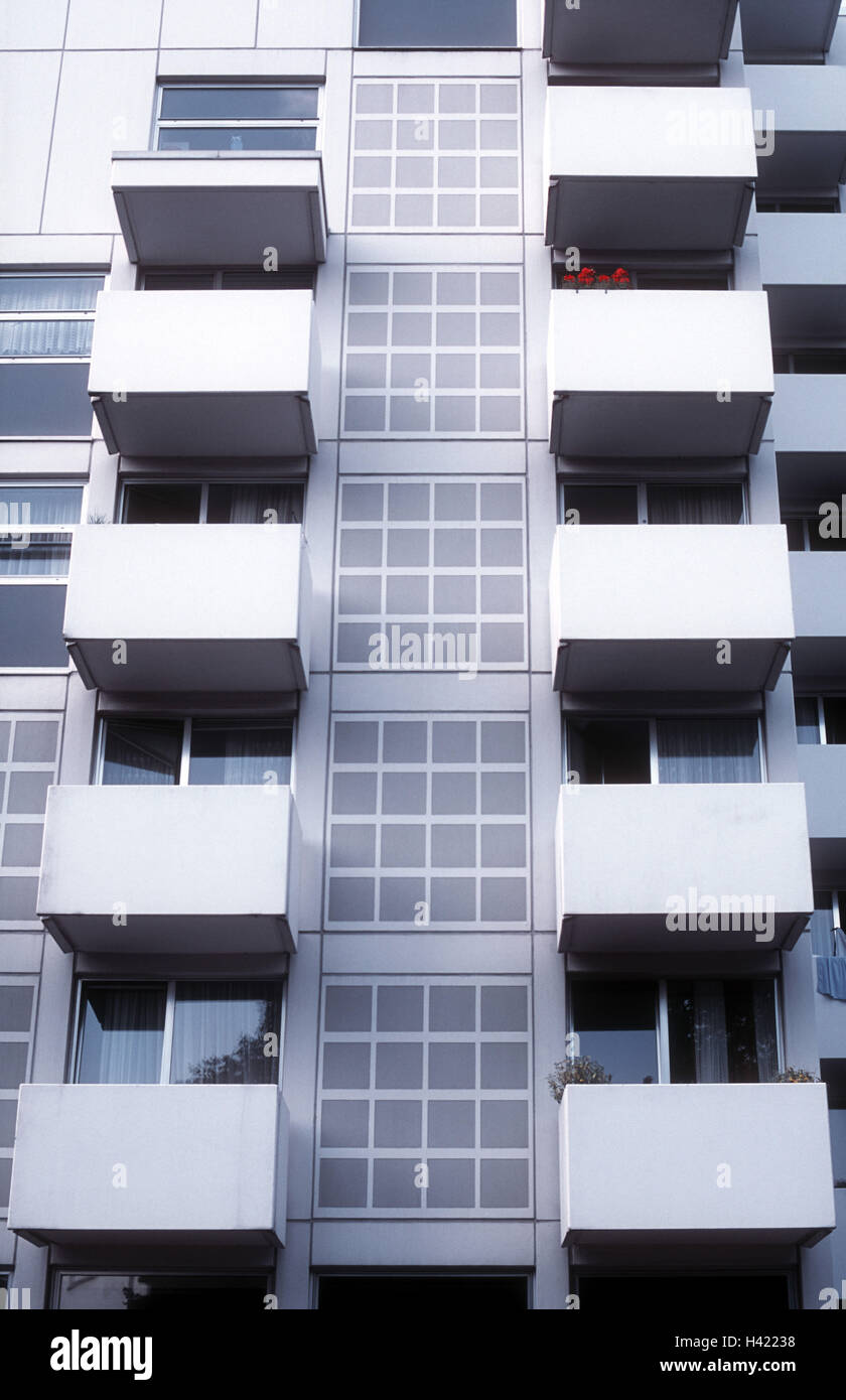 Germany, Baden-Wurttemberg, Karlsruhe, high rise, detail, balconies, town, city, residential area, conurbation, - Stock Image