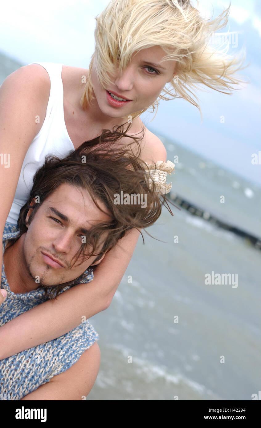 Very young teen couple beach