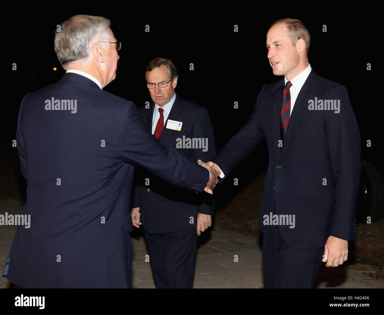 The Duke of Cambridge greets Defence Secretary Sir Michael Fallon as they attend the MOD Employer Recognition Scheme - Stock Image