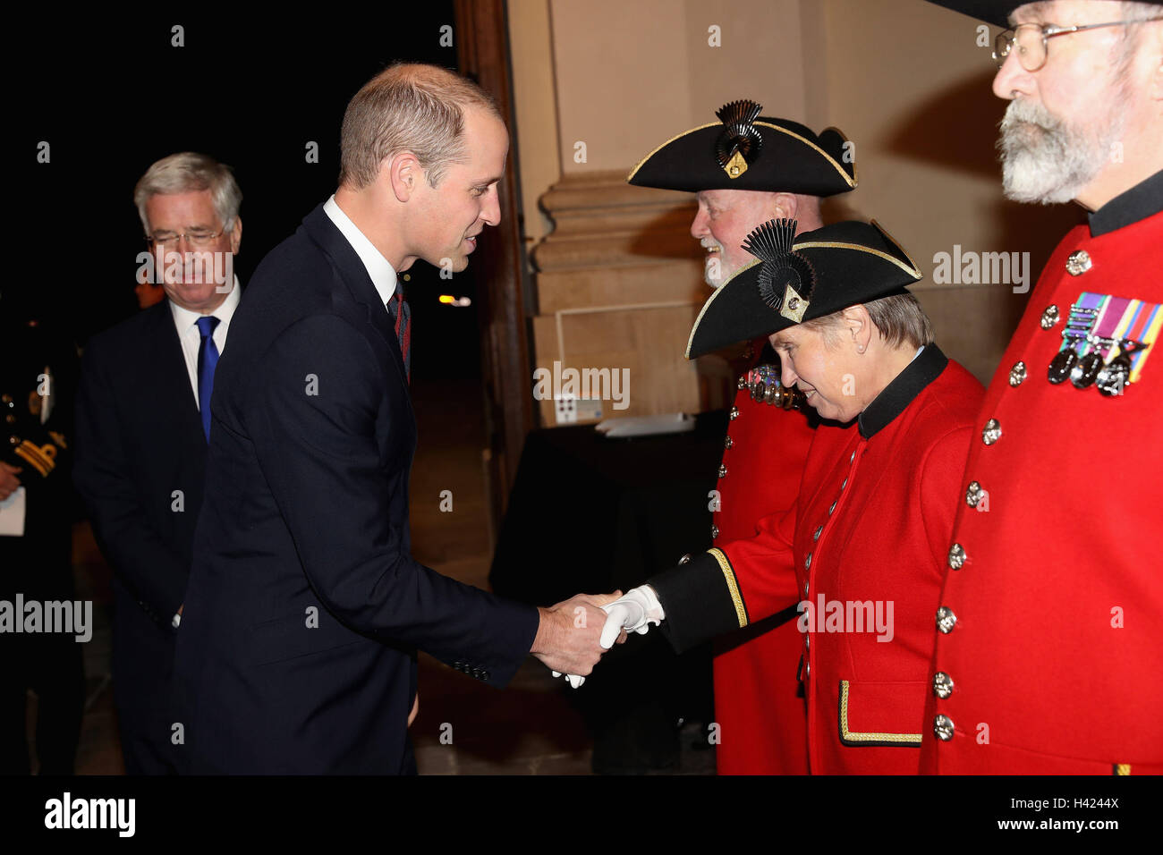 The Duke of Cambridge speaks to Chelsea Pensioner Barbara Whilds whilst attending the MOD Employer Recognition Scheme - Stock Image