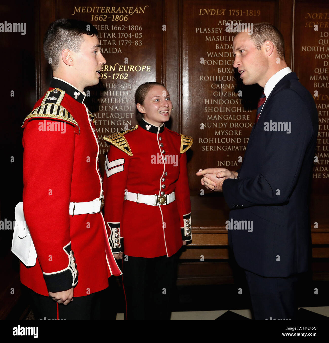 The Duke of Cambridge speaks with band members whilst attending the MOD Employer Recognition Scheme Gold Awards - Stock Image