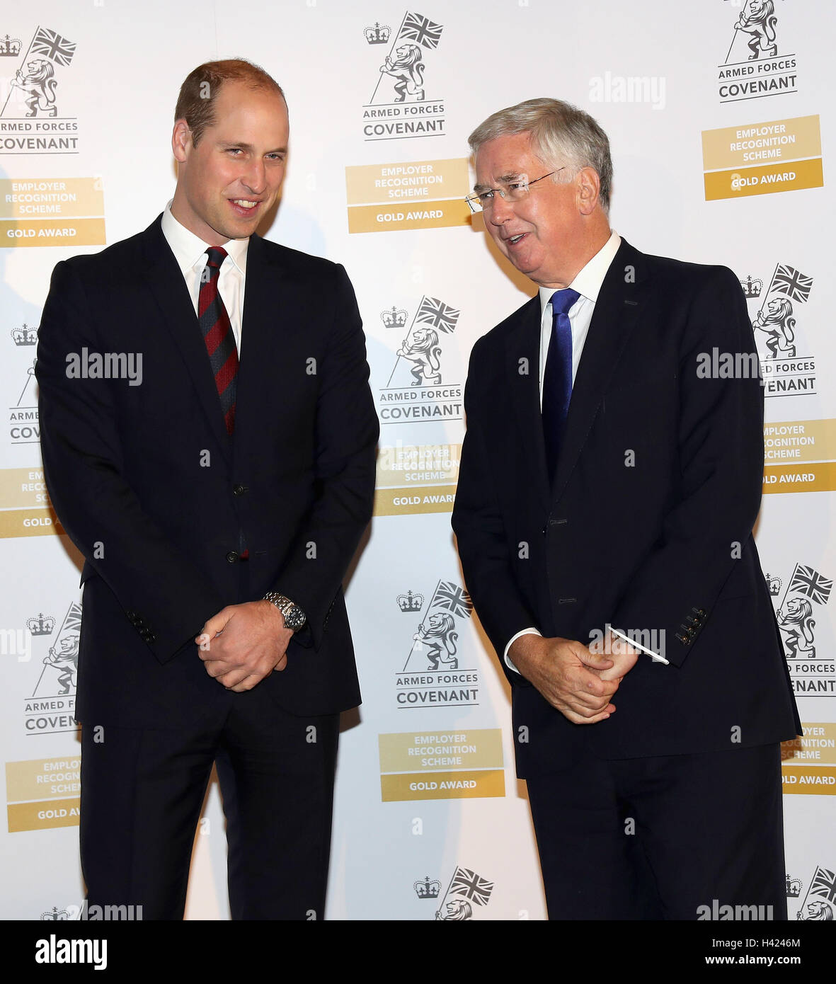 The Duke of Cambridge and Defence Secretary Sir Michael Fallon attend the MOD Employer Recognition Scheme Gold Awards - Stock Image