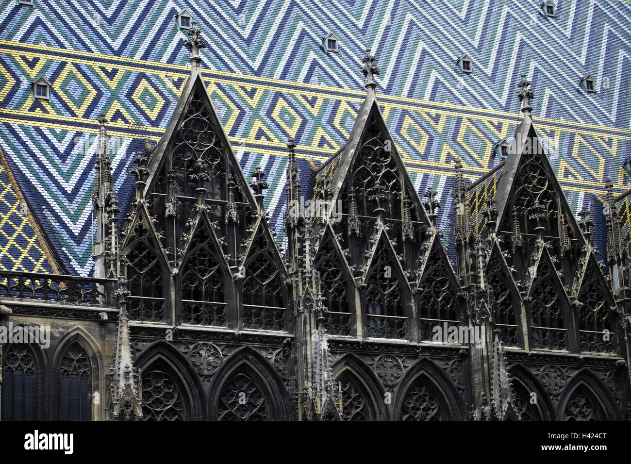 Austria Vienna Stephansdom Detail Gable Roof Sample Europe Town Capital Space Stephans Architecture Structure Landmark Church