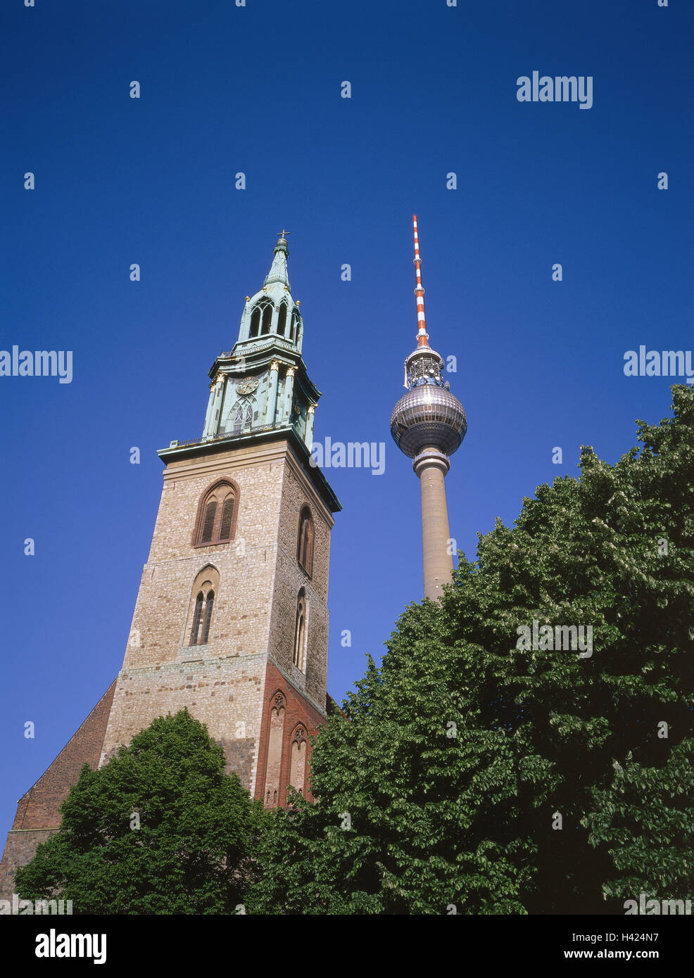 Germany, Berlin, television tower, Marien's church, detail, Europe, capital, town, Berlin, city centre, city - Stock Image