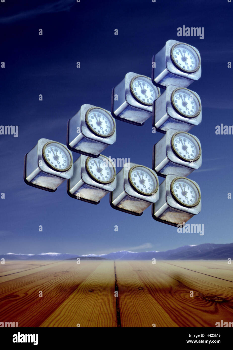 Surrealism, clocks, wooden floor, mountains, times, times, times, 'five in front of twelve', 'shortly - Stock Image