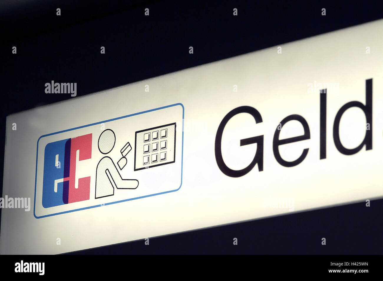 Sign, automatic teller,    Hint, EC, bank, money, finances, EC-Automat, bank vending machine, vending machine, cash, - Stock Image