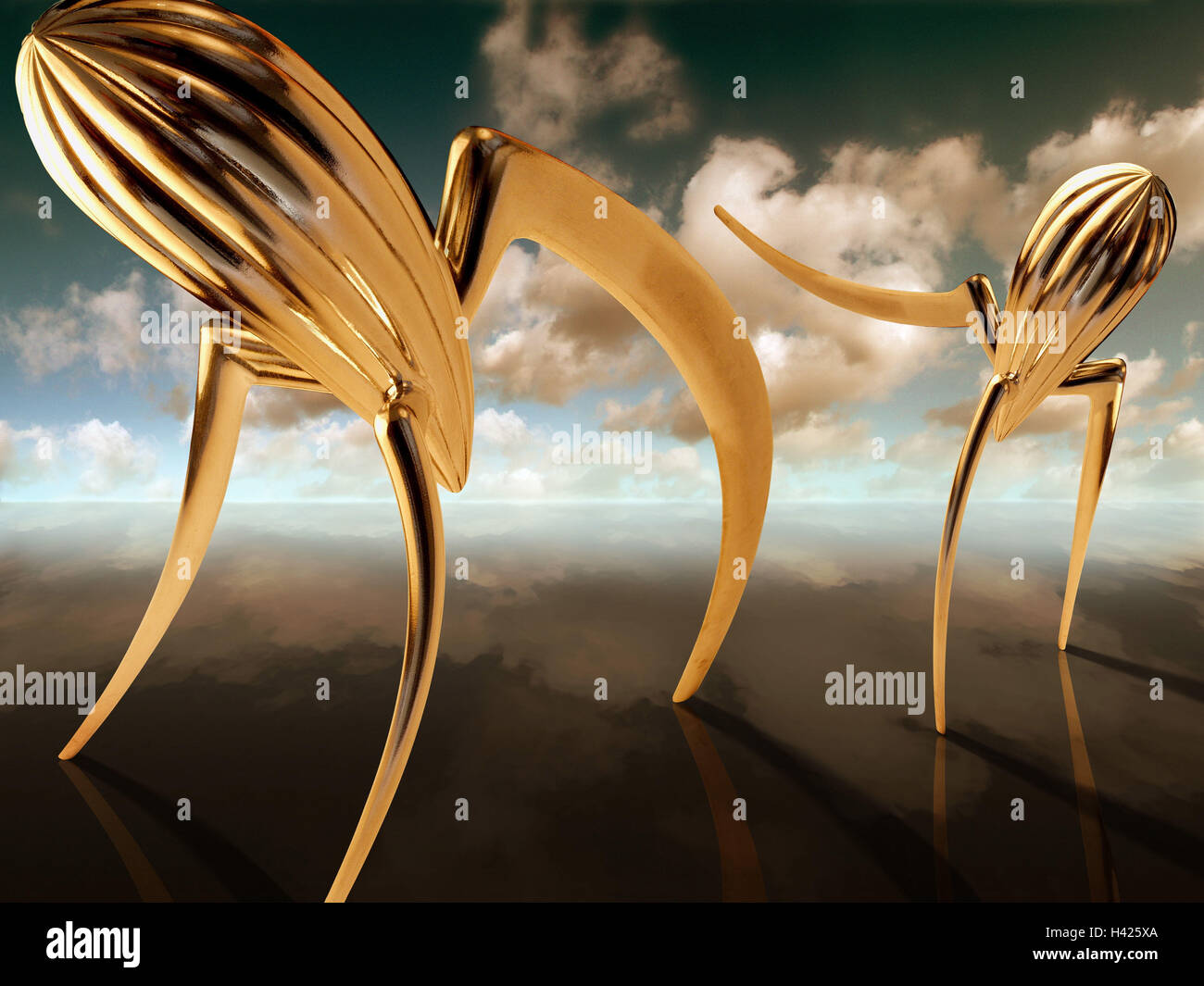 "Surrealism, scenery, Zitruspressen, design, motion, lemon squeezers, Juicy Salif, leggy, ""Alessi"", Alessi lemon Stock Photo"