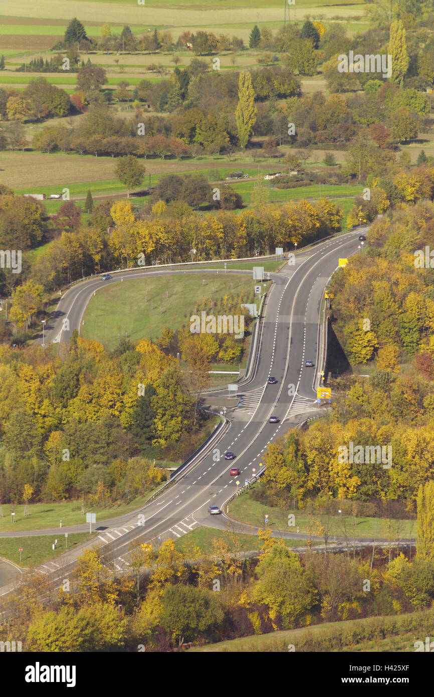 Germany Karlsruhe Federal Highway B3 Exit Bend Overview Autumn