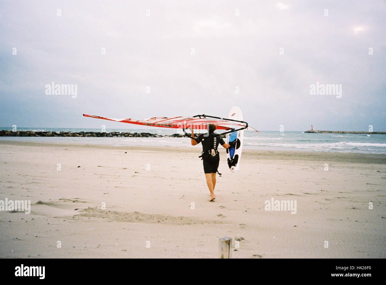Man, surfboard, beach, carries,  Move opinion,   France, St. Marie of de la Mer, sea, windsurfers, Speedsurfer, - Stock Image