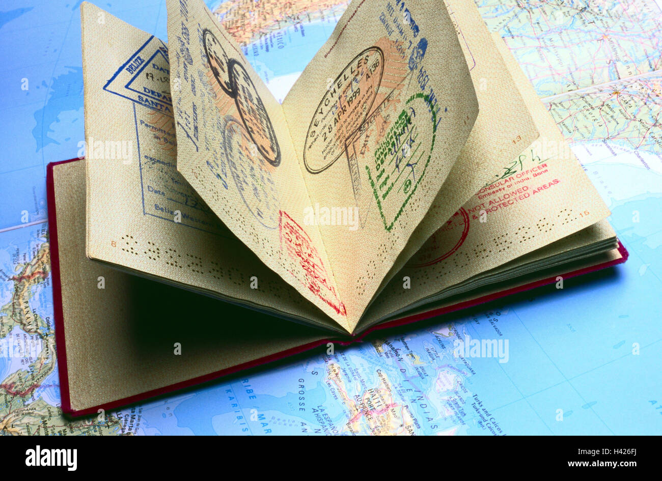 Map the world, passport, entry stamp, map, pass, identity