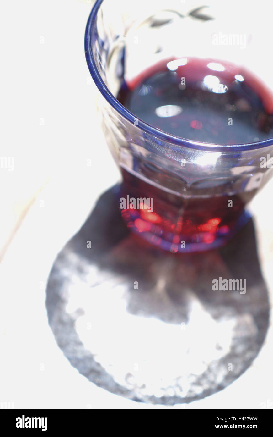 Table, glass, red wine, detail, from above street cafe, glass, wine, drink, alcohol, consumption, drinking, conception, - Stock Image