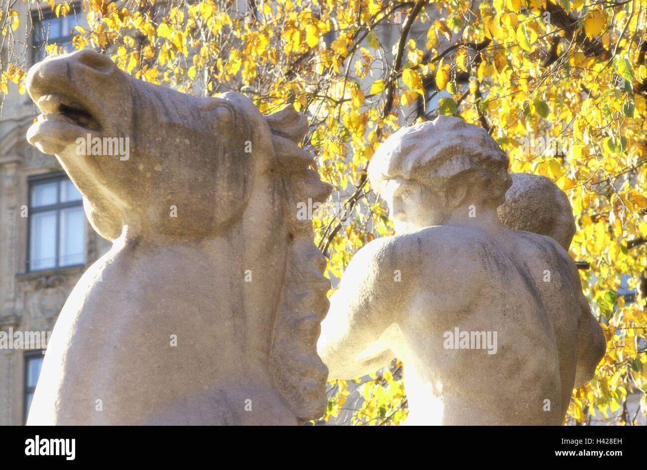 Germany, Upper Bavaria, Munich,  Wittelsbacher wells, Brunnenfigur,  close-up, autumn,  Bavaria, Lenbachplatz, Maximilian - Stock Image
