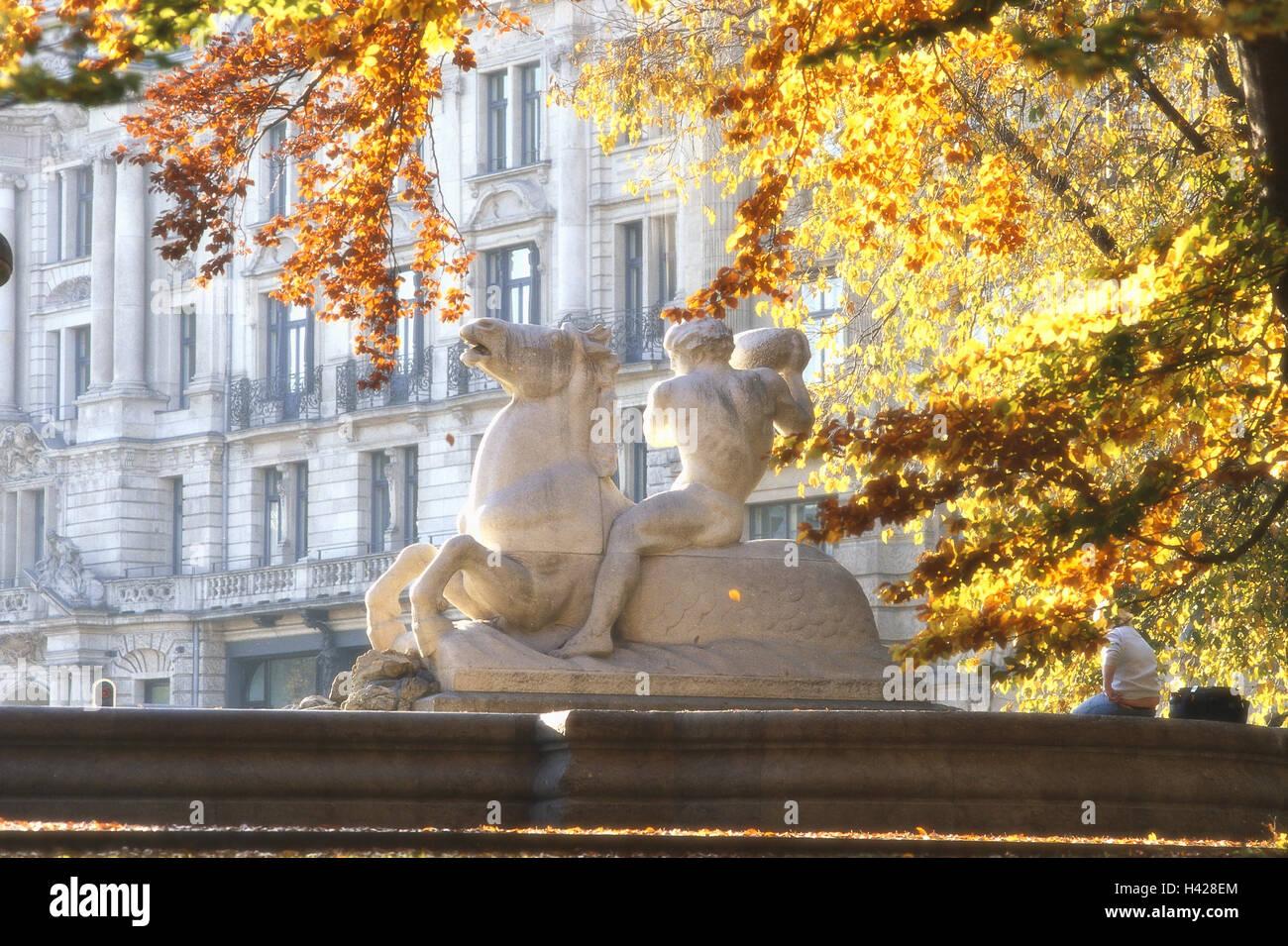 Germany, Upper Bavaria, Munich,  Wittelsbacher wells, detail, Well figure, autumn,  Bavaria, Lenbachplatz, Maximilian - Stock Image