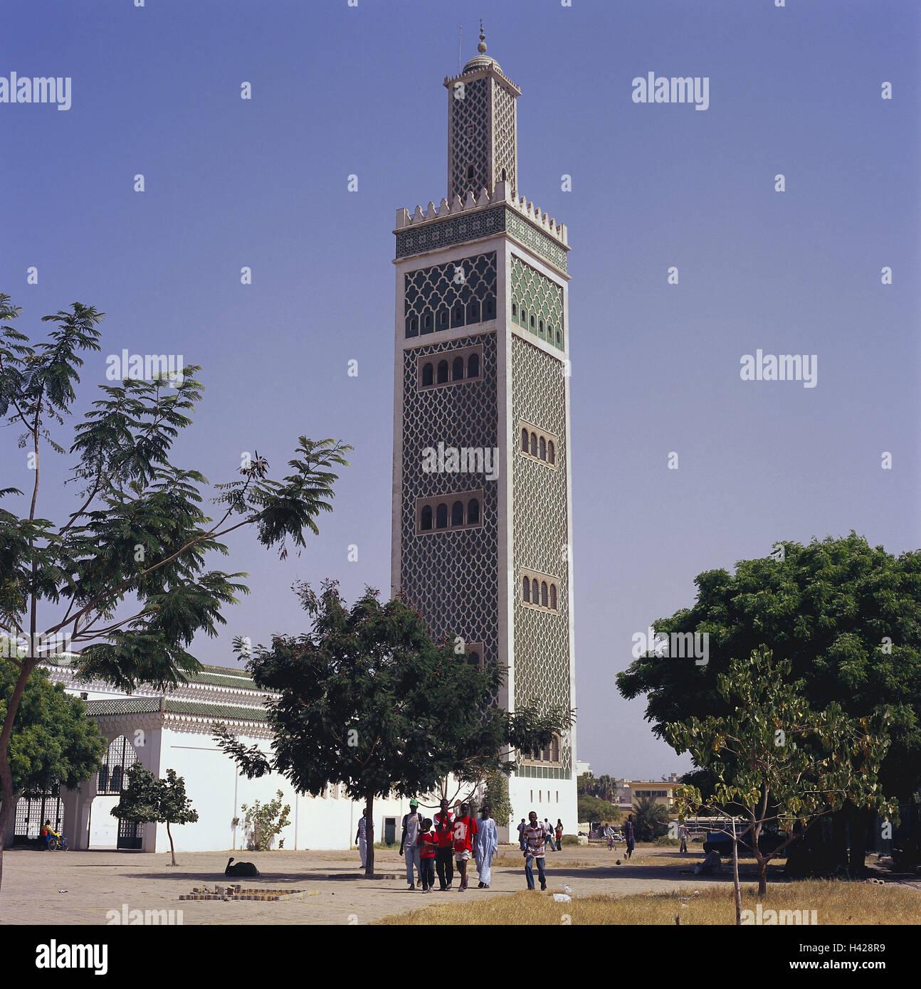Senegal, Dakar, big mosque, passer-by, Africa, West, Africa